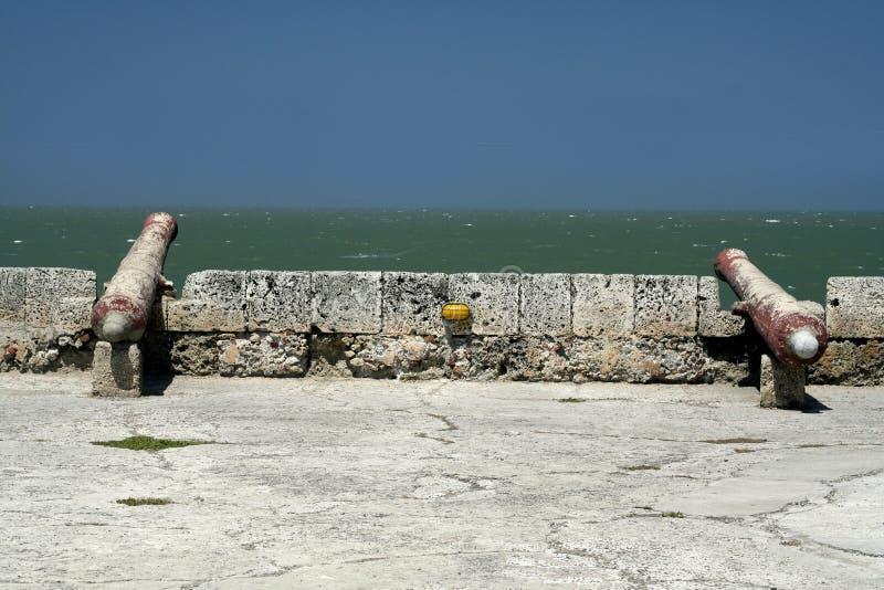 大炮卡塔赫钠墙壁 库存照片