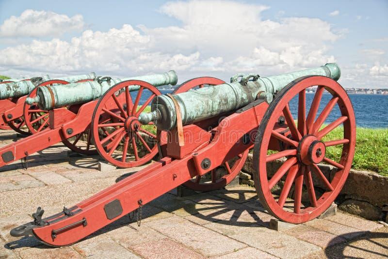 大炮城堡卫兵kronborg立场 免版税库存照片