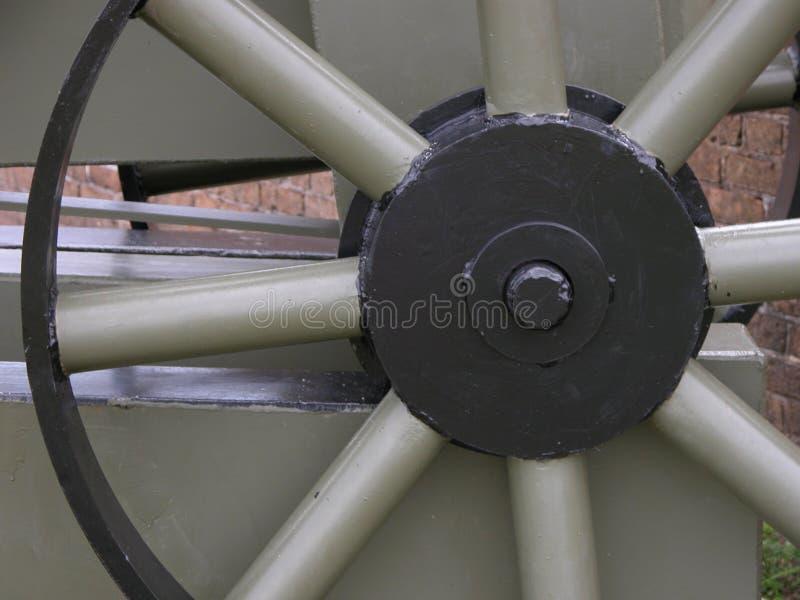大炮的Spoked轮子的特写镜头细节 免版税库存照片