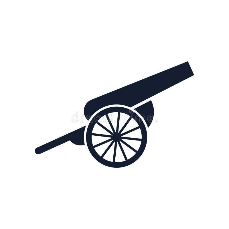 大炮象在白色背景和标志隔绝的传染媒介标志,大炮商标概念 向量例证