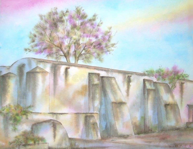 大牧场墨西哥老废墟 皇族释放例证
