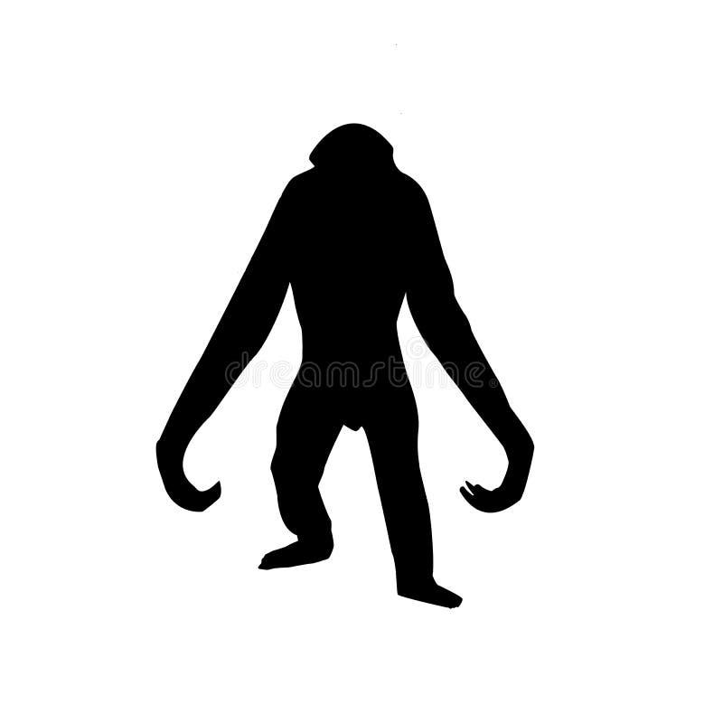 大猩猩剪影向量 向量例证