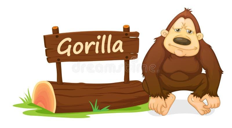 大猩猩和名字板极 库存例证