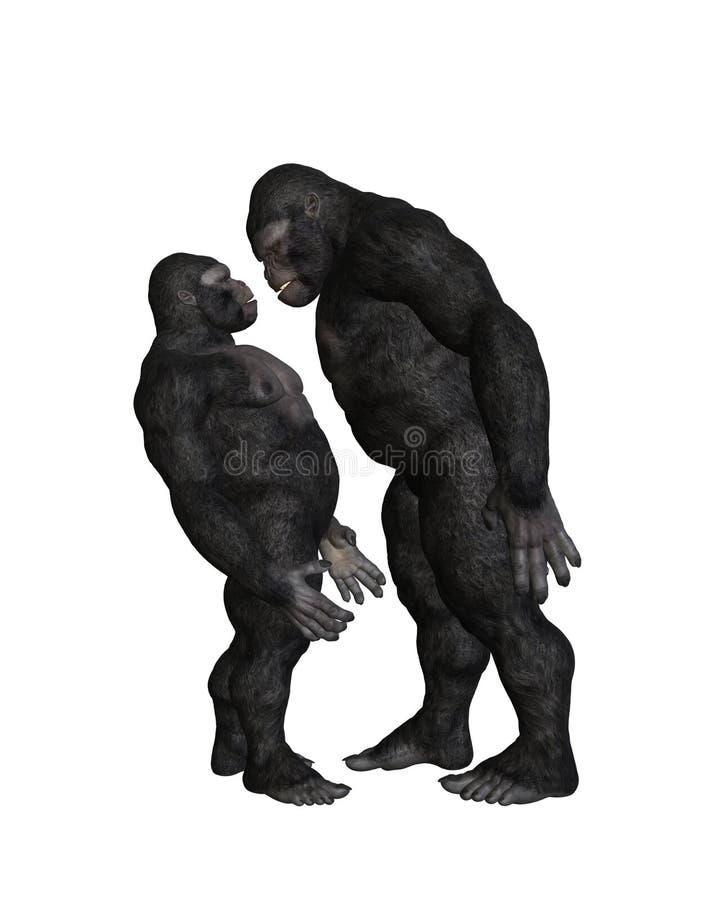 大猩猩恶霸胁迫的例证 免版税库存照片