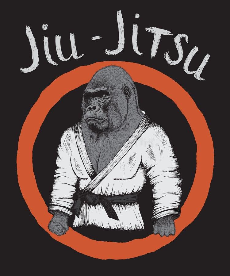 大猩猩是jiu-jitsu战斗机 皇族释放例证