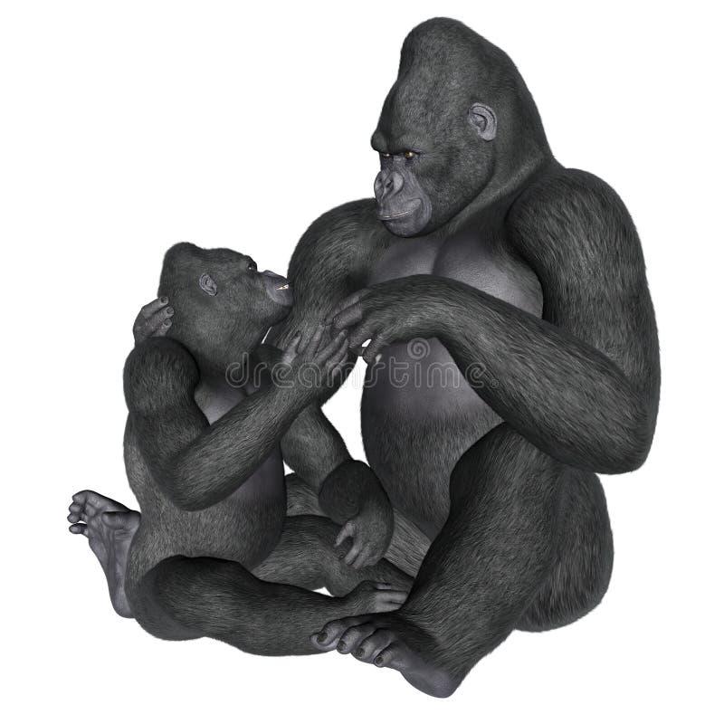 大猩猩母性- 3D回报 向量例证