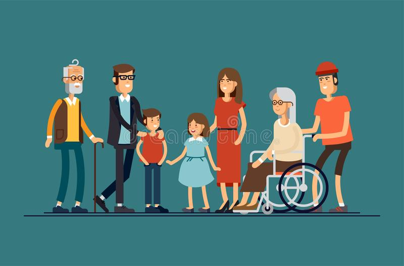 大现代家庭传染媒介平的设计例证 一起站立的亲戚 祖父母,母亲,父亲,兄弟姐妹 库存例证