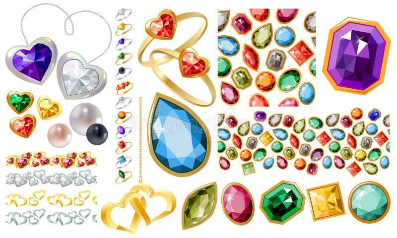 大珠宝设置与宝石和环形 皇族释放例证