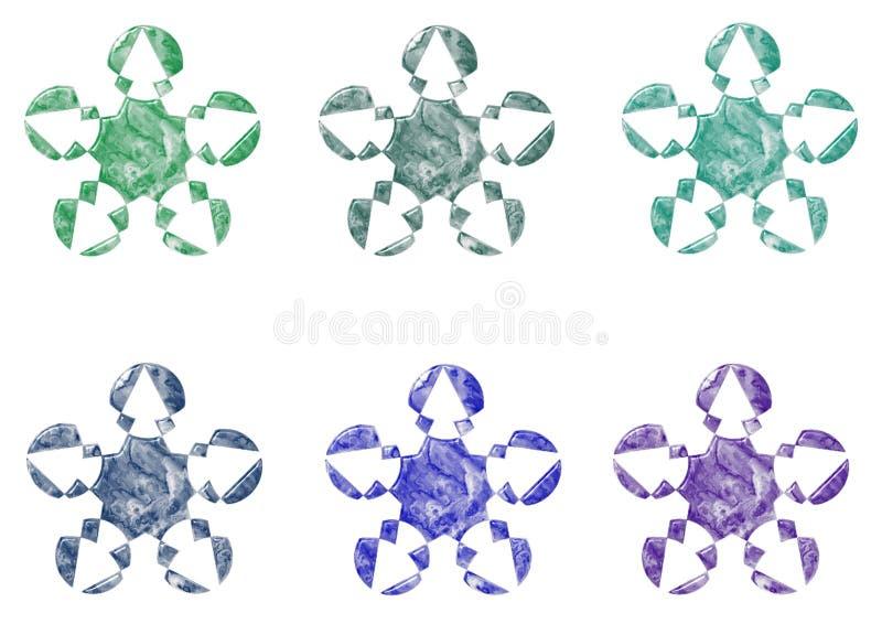 大理石商标五颜六色的模板星和花 库存例证