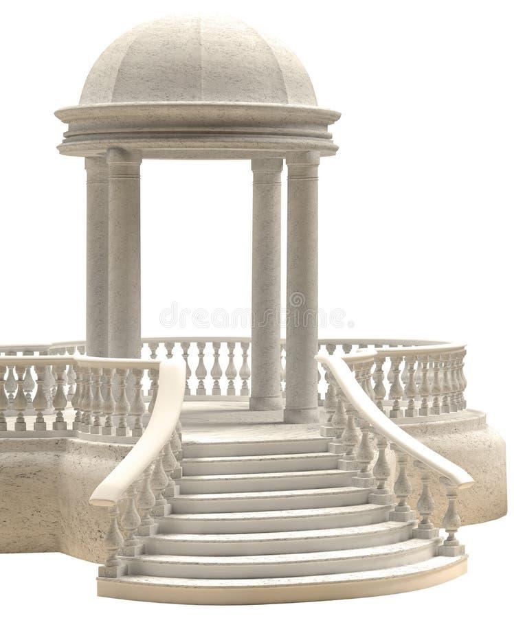 大理石圆形建筑在白色背景3D翻译 皇族释放例证
