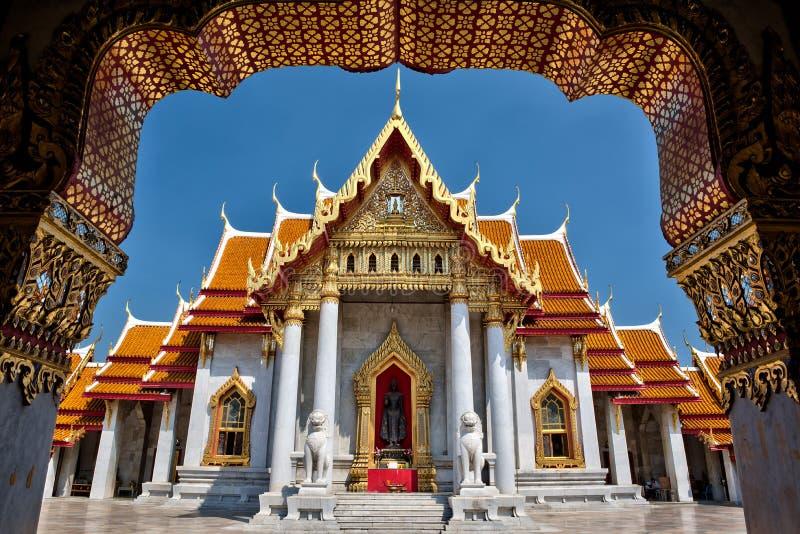 大理石寺庙, Wat Benchamabopitr Dusitvanaram曼谷泰国 免版税库存照片