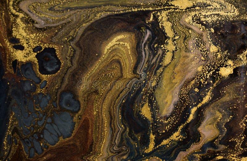 大理石抽象丙烯酸酯的背景 使有大理石花纹的艺术品纹理 玛瑙波纹样式 金粉末 免版税库存照片