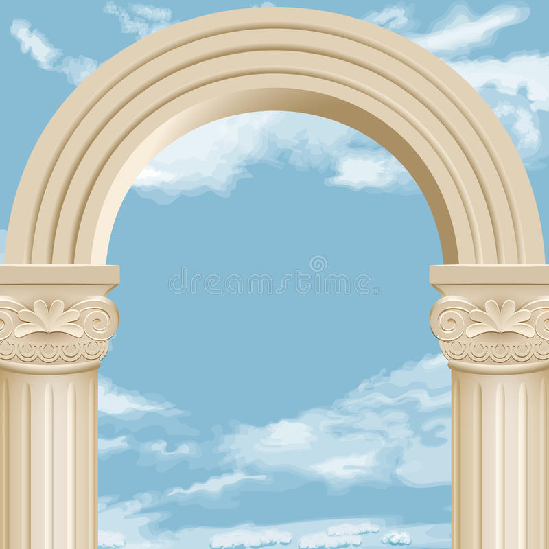 大理石曲拱和多云天空 向量例证