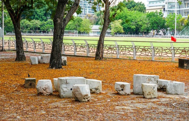 大理石椅子和桌在庭院里 E 免版税图库摄影