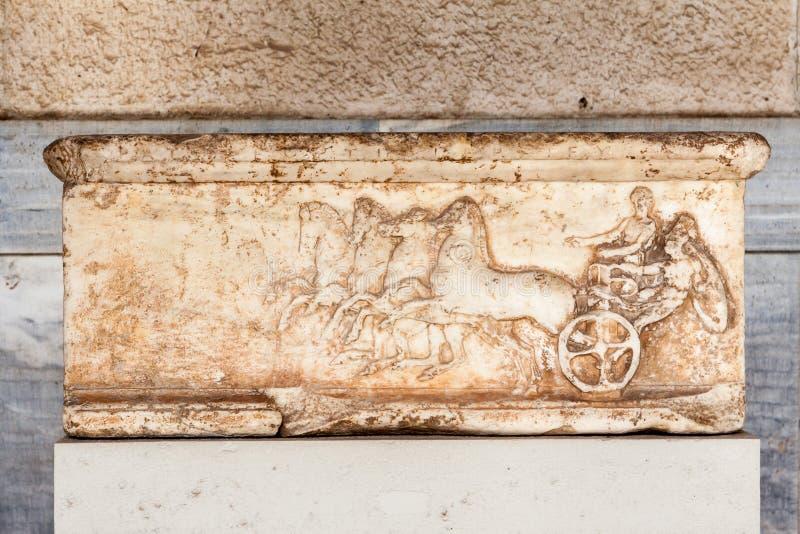 大理石浅浮雕集市博物馆雅典 库存图片