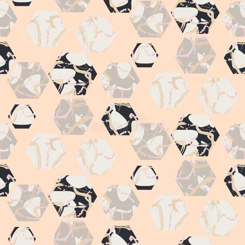 大理石石六角形无缝的淡粉红的传染媒介纹理 皇族释放例证