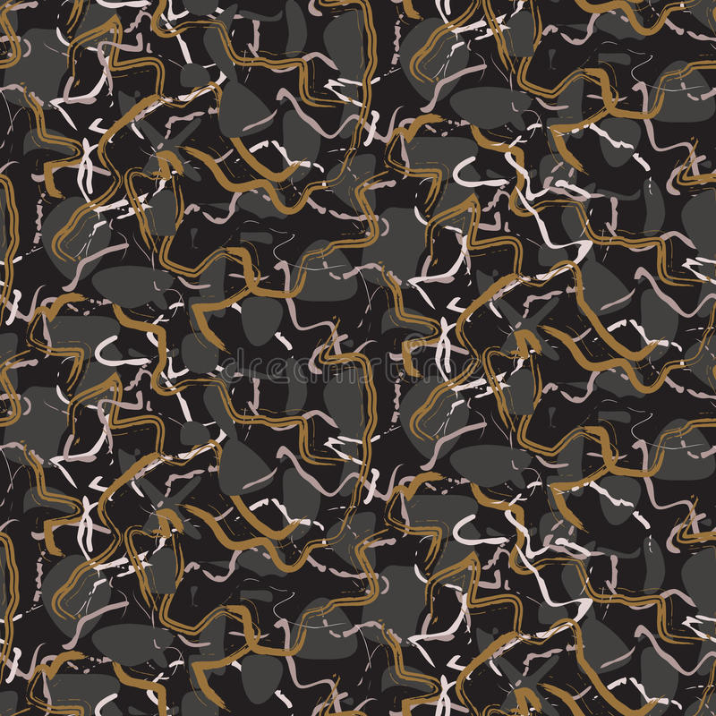 大理石石黑色和金条纹导航无缝的纹理 向量例证