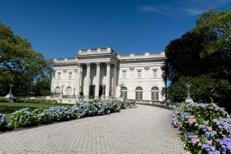 大理石议院,一个著名范德比尔特豪宅在纽波特,RI 库存照片