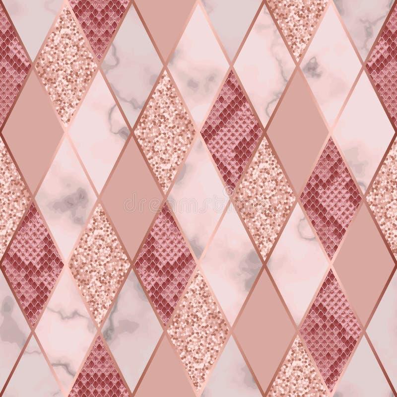 大理石豪华和Snakeskin几何无缝的样式 向量例证