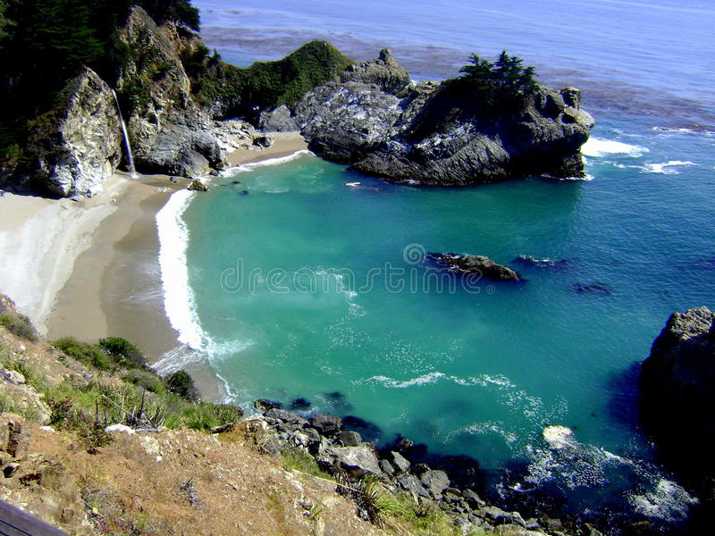 大瑟尔加利福尼亚沿海McWay瀑布鸟瞰图在茱莉亚普法伊费尔烧国家公园 免版税库存照片