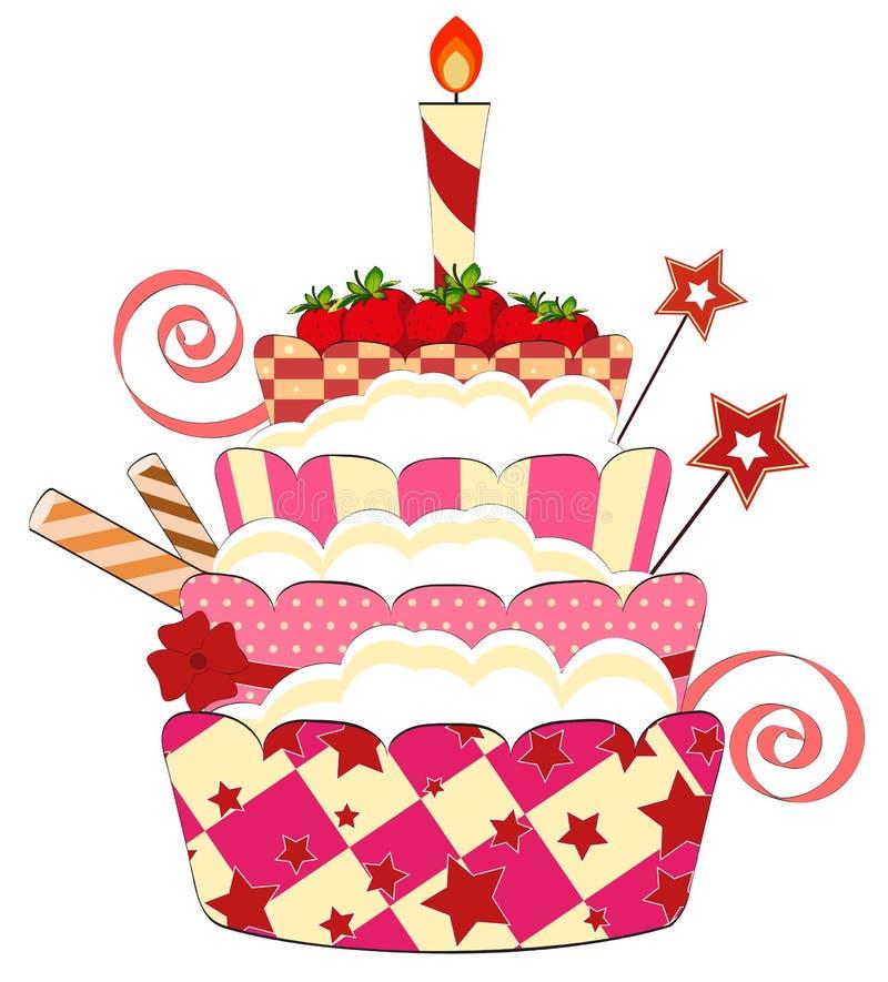 大生日蛋糕草莓 库存例证
