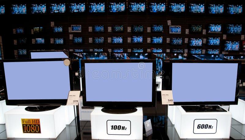 大电子零售店电视 库存照片