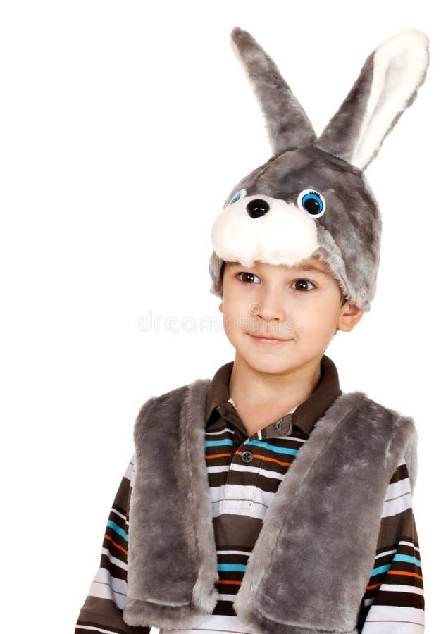 大男孩注视小的兔子诉讼 库存照片