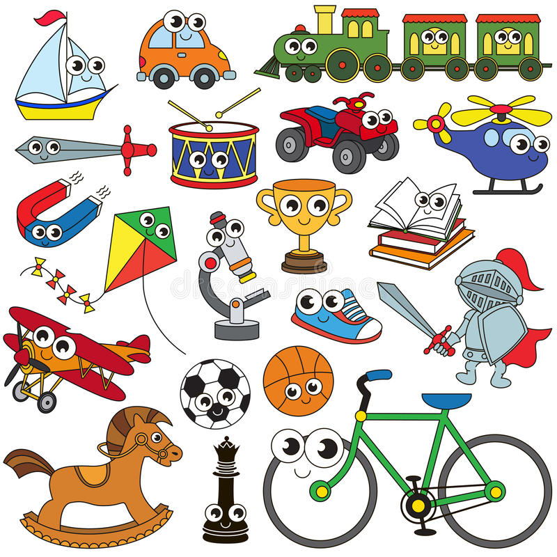 大男孩玩具集合,彩图模板的汇集,小组概述数字式元素 库存例证