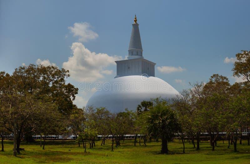 大白色stupa Ruwanwelisaya dagoba在阿努拉德普勒,斯里兰卡 库存图片