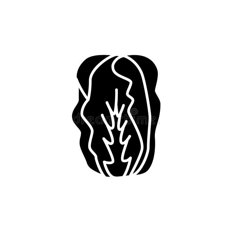 大白菜的黑&白色传染媒介例证 叶子veget 皇族释放例证