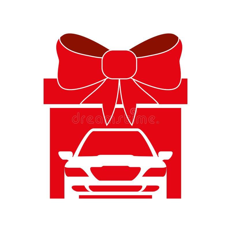 大礼物汽车红色弓设计 向量例证