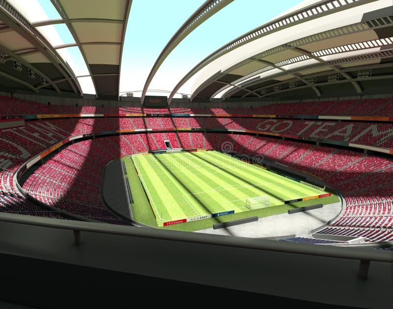 大空的足球场-全景视图 库存图片
