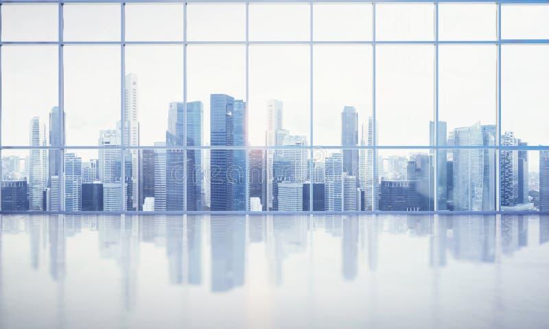 大窗口到白色办公室里有特大的城市视图 免版税库存照片