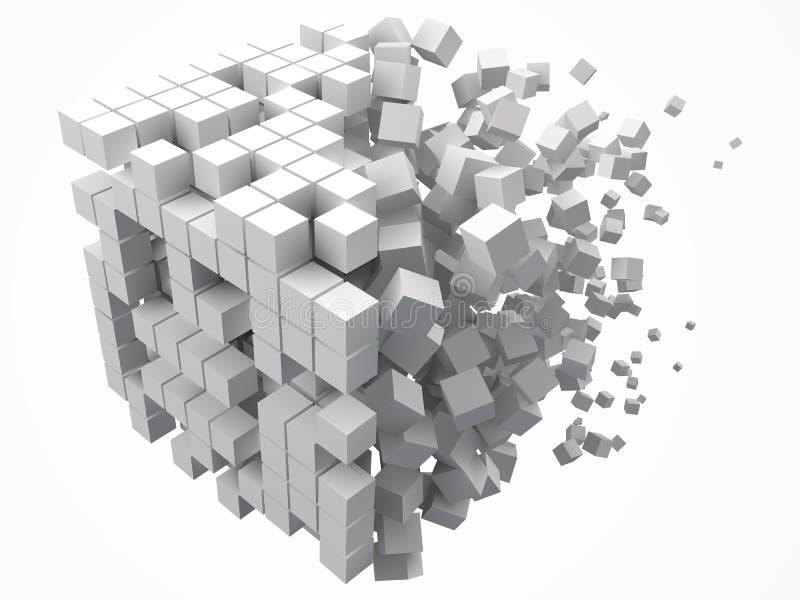 大立方体数据块 用更小的白色立方体做 3d映象点样式传染媒介例证 皇族释放例证