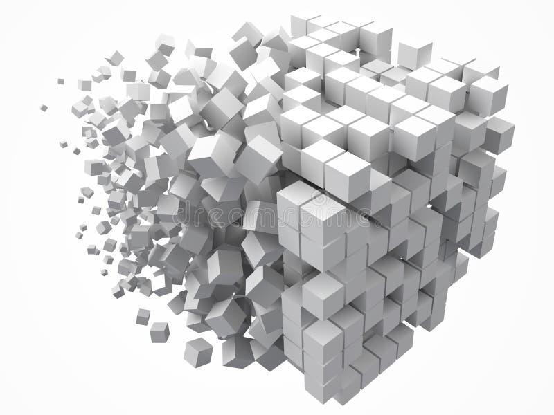 大立方体数据块 用更小的白色立方体做 3d映象点样式传染媒介例证 向量例证