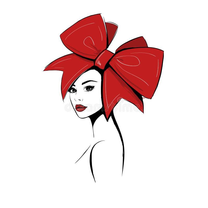 大红色弓的妇女 库存例证