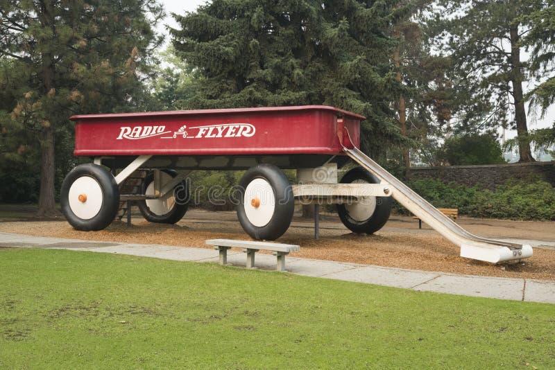 大红色无盖货车书刊上的图片,斯波肯,华盛顿,美国 库存照片