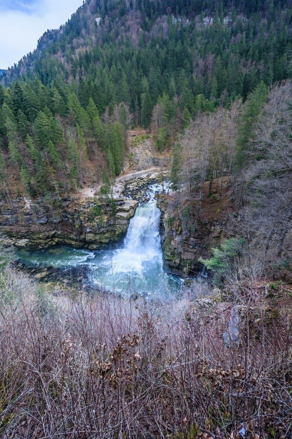 大约杜省的Saut du杜省最大的瀑布 免版税库存图片