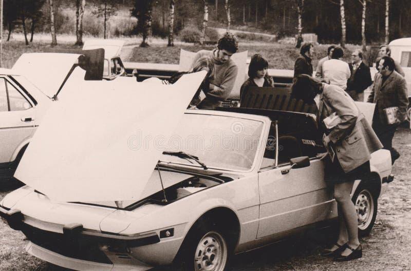 大约1972年-汽车陈列-菲亚特X1/9贝尔托内的DT00014德国 图库摄影