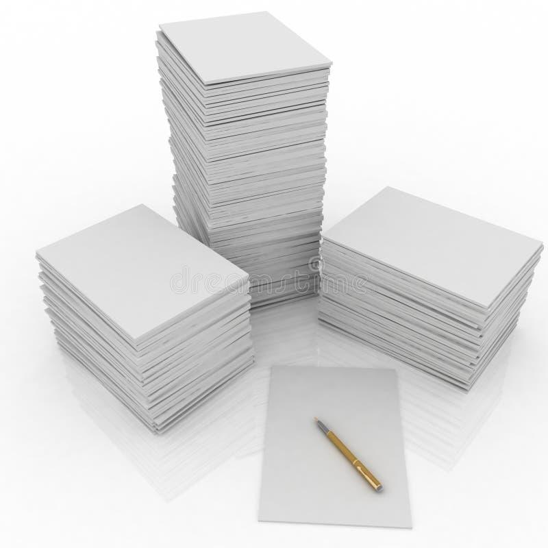 大纸笔堆 向量例证