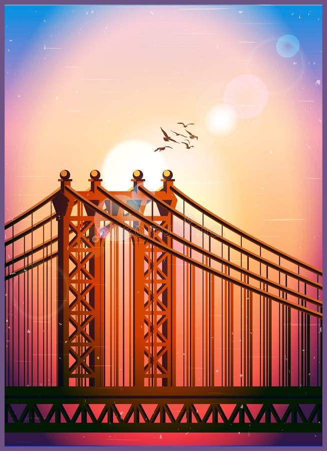 大缆绳被停留的桥梁 向量例证