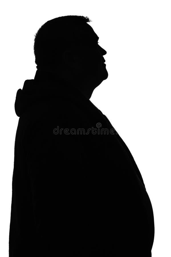 大肚子人黑白剪影  免版税库存照片
