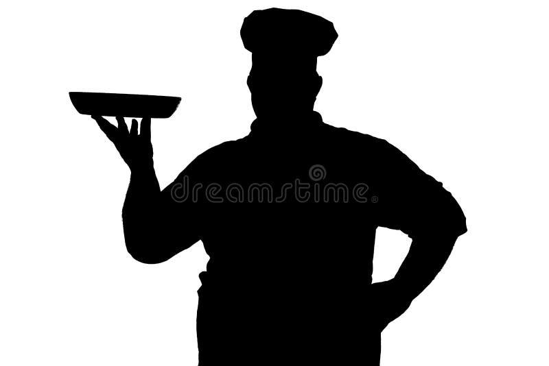 大肚子院长烹饪器材的剪影在白色被隔绝的背景的,服务访客的人运载的盘 皇族释放例证