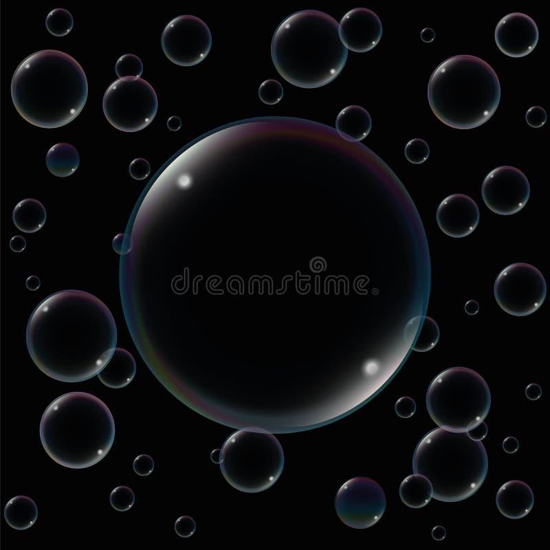 大肥皂泡黑色 向量例证