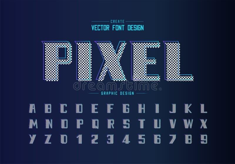 大胆的字体和字母表传染媒介、现代字体和信件数字设计,在背景的图表文本 库存例证