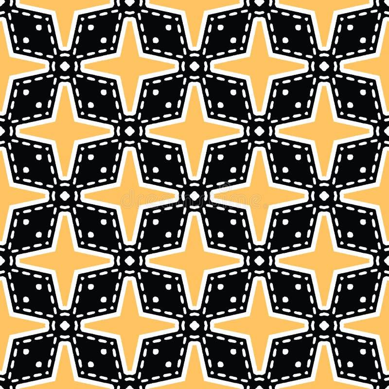 大胆的手拉的星花被子 传染媒介样式无缝的背景 对称几何抽象例证 时髦减速火箭 库存例证