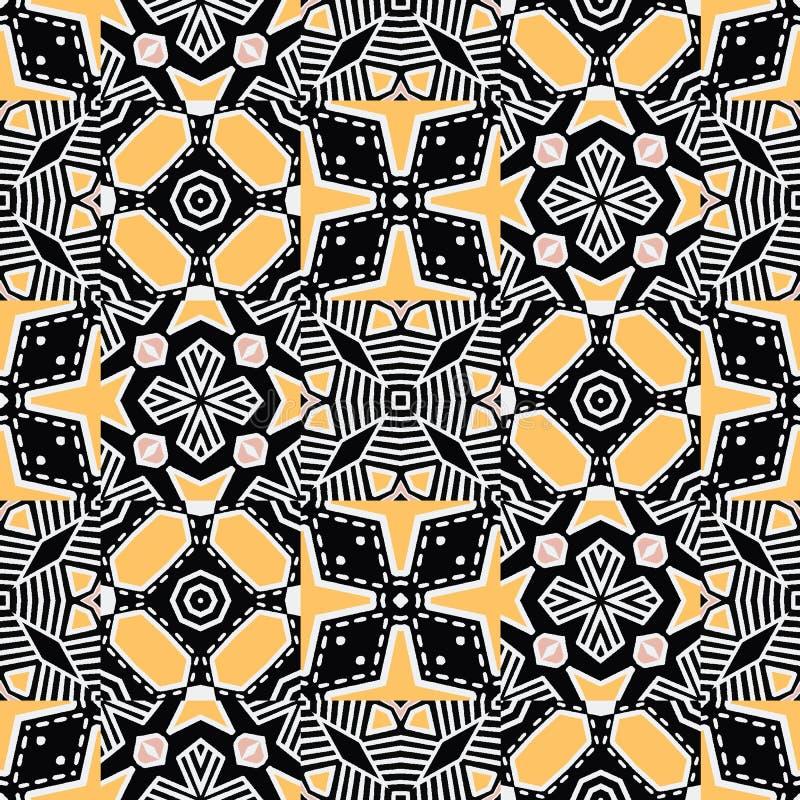 大胆的手拉的花卉被子 传染媒介样式无缝的背景 对称几何抽象例证 缝制的时髦减速火箭 向量例证