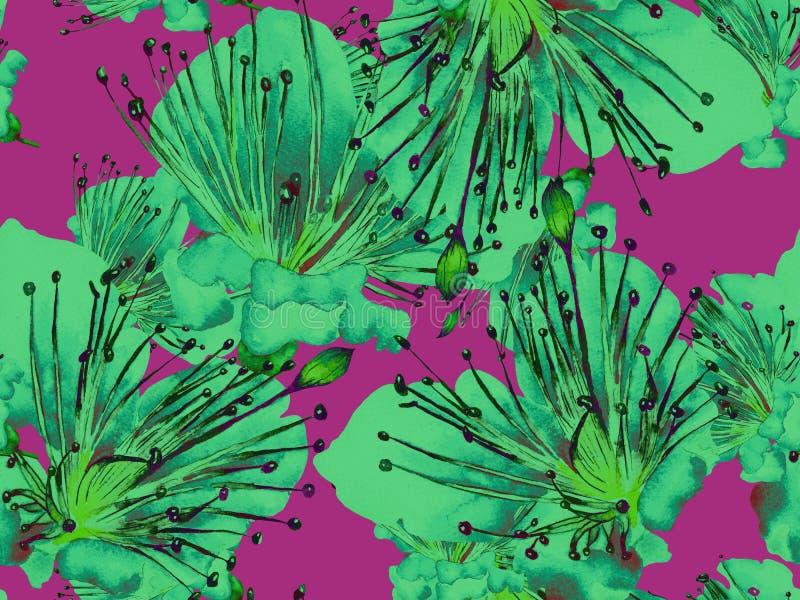 大胆的抽象花卉样式 库存例证