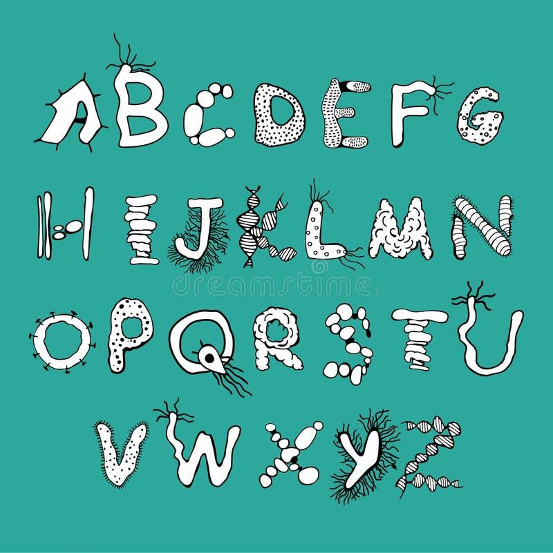 大胆的生物字体 皇族释放例证