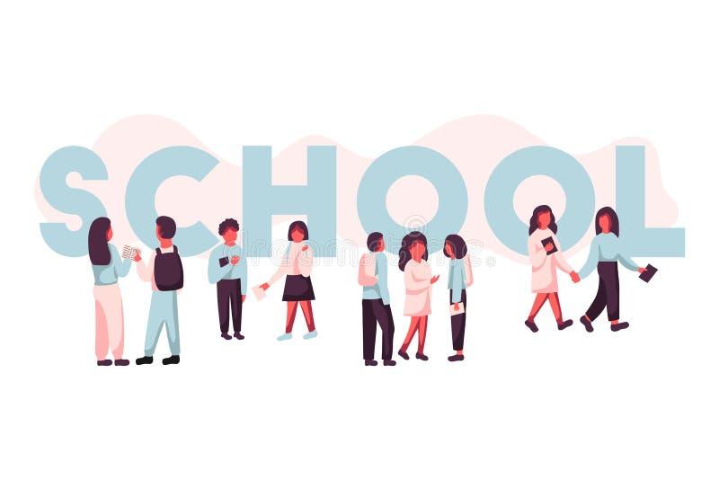 大胆的盖帽字体的词学校与小组在它附近的孩子 儿童谈话 平的现代传染媒介例证 皇族释放例证